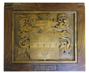 Carved box lid (coat of arms)
