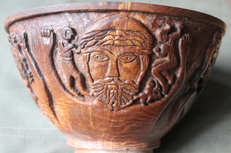 Elm bowl with image from the Gundestrup Cauldron, 5