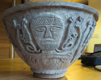 Elm bowl with image from the Gundestrup Cauldron, 3