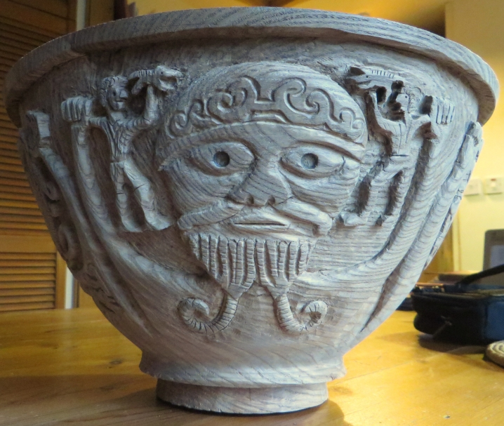 Elm bowl with image from the Gundestrup Cauldron, 2