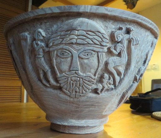 Elm bowl with carving from the Gundestrup Cauldron, 1