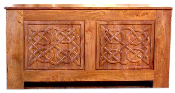 Elm chest with Celtic knots