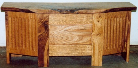 Fluted oak chest