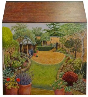 Housebox chest, garden painted on back