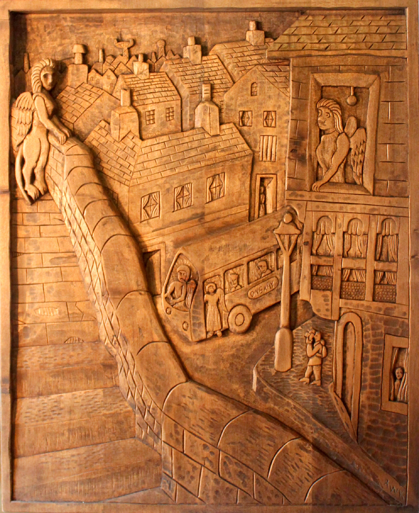 Large carved panel 'One Way'