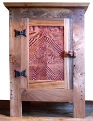 Oak cabinet with Tree of Life in pear wood