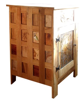 Oak cupboard with lapwing