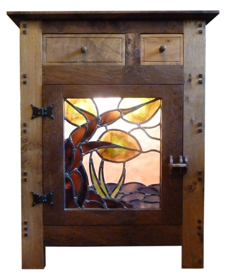 Oak cupboard with stained glass panel by Jenia Gorfunkel