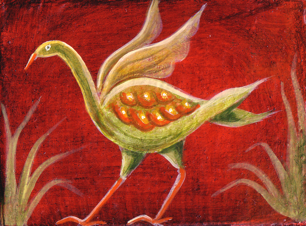 Red mythical bird